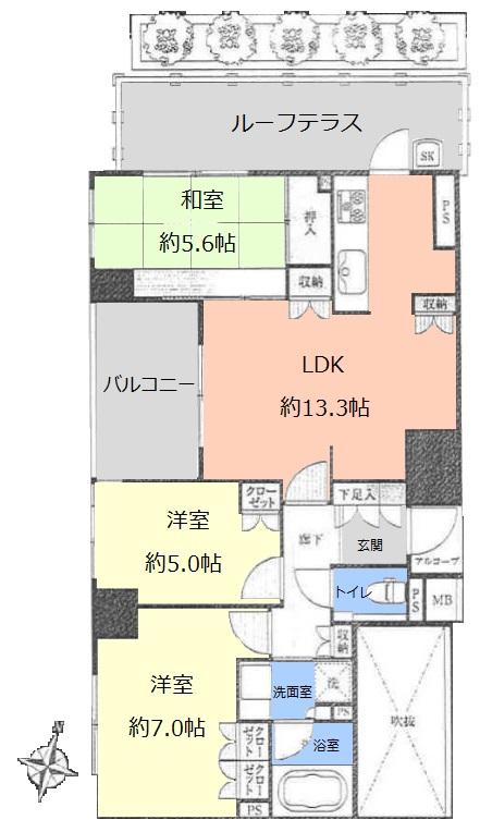 アトラス志村三丁目5階 間取図