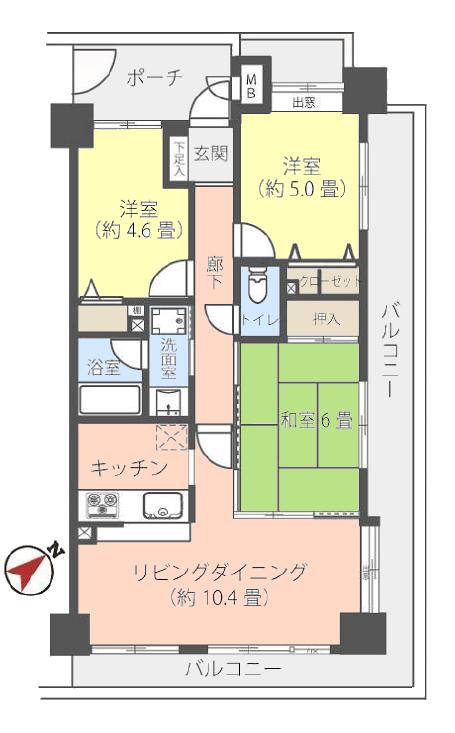ナイスアーバン徳丸2階 間取図