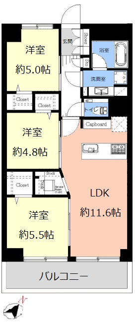 日商岩井上板橋マンション3階 間取図