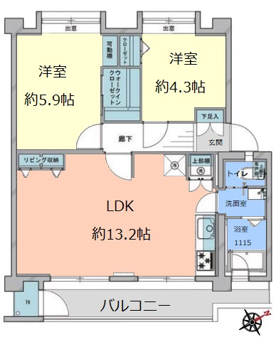 若木住宅2号棟3階 間取図