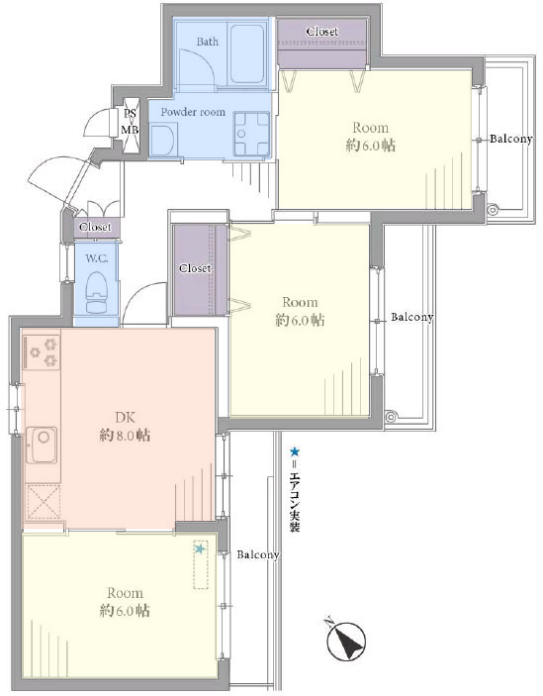 キャニオンマンション見次公園2階 間取図