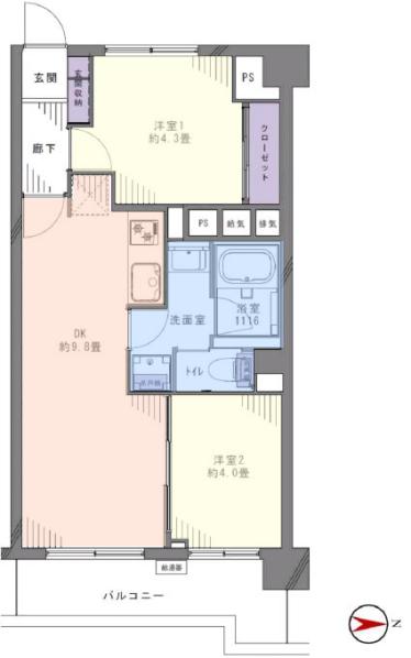 大山ローヤルコーポ7階 間取図