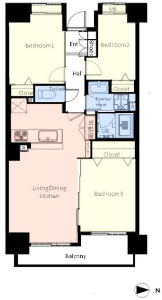 板橋パークホームズ3階 間取図