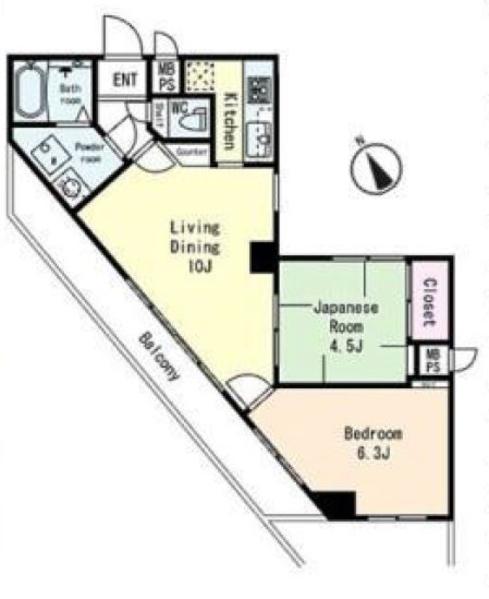コスモ中台6階 間取図