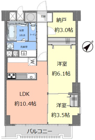 タック中台4階 間取図