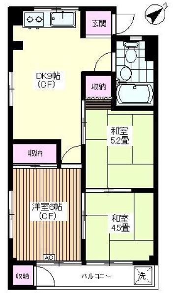 南常盤台ハイム5階 間取図