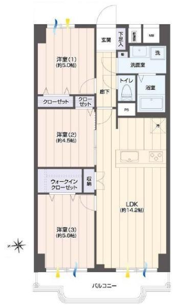 蓮根ファミールハイツ1号棟4階 間取図