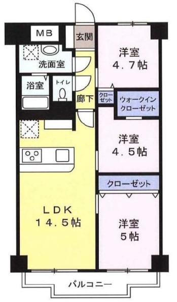 蓮根ファミールハイツ1号棟8階 間取図