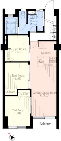 上板橋ハウス3階 間取図