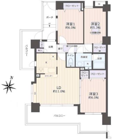 グランヴェルジェ西台4階 間取図