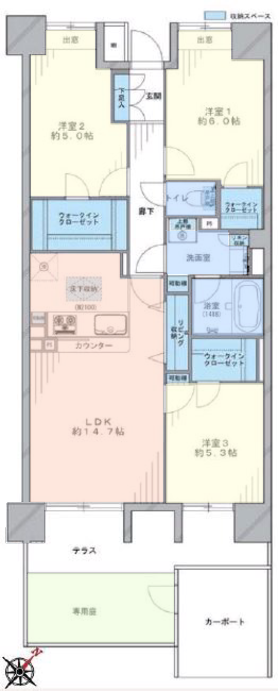 コスモ板橋志村プリオール1階 間取図
