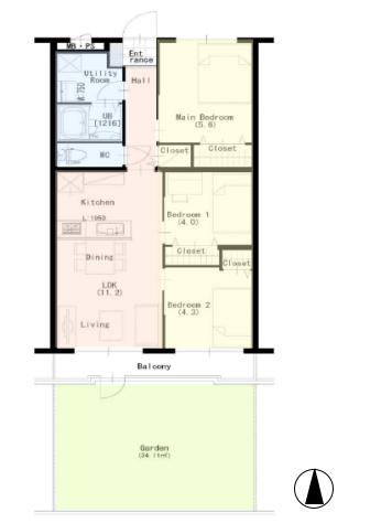 キャニオンマンション常盤台1階 間取図