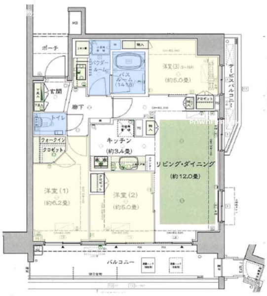 シティテラス加賀12階 間取図