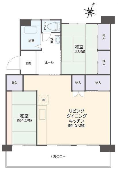 前野台住宅4号棟6階 間取図