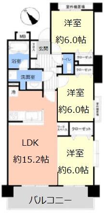 日神パレステージ東武練馬台 西館3階 間取図