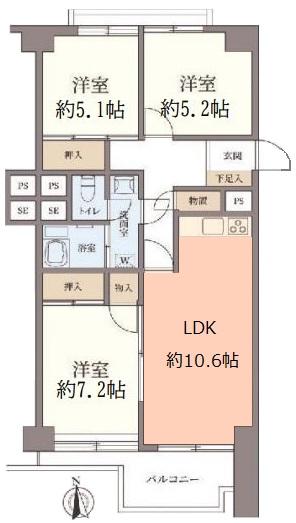 板橋中台マンション1階 間取図