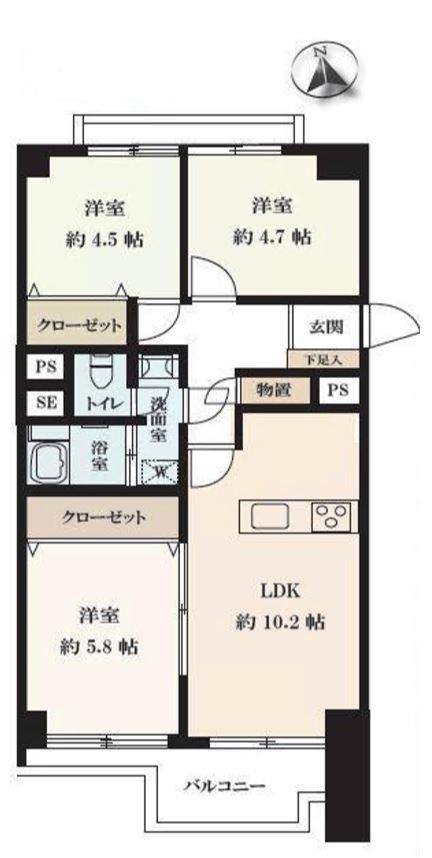 板橋中台マンション8階 間取図