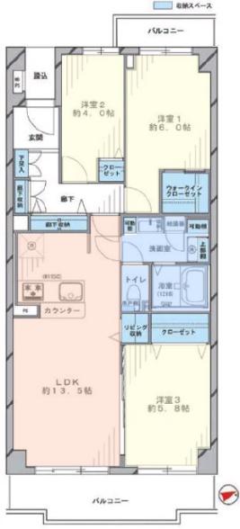 成増ハウス6階 間取図