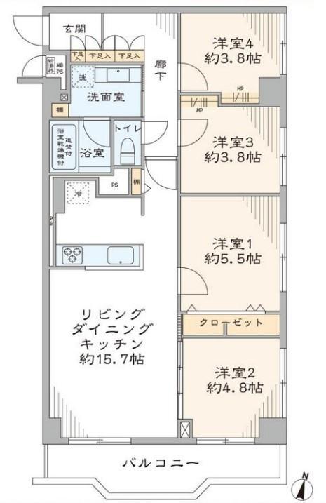 洋伸小豆沢公園マンション4階 間取図