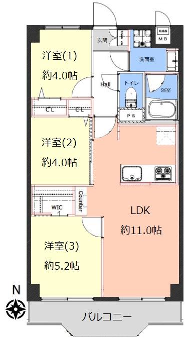 洋伸小豆沢公園マンション7階 間取図