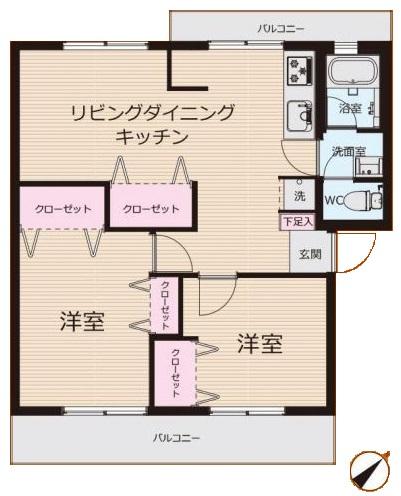 若木住宅3号棟2階 間取図