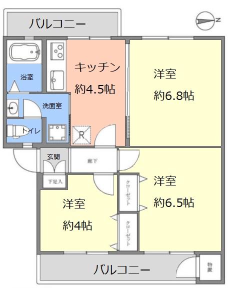 若木住宅 3号棟3階 間取図