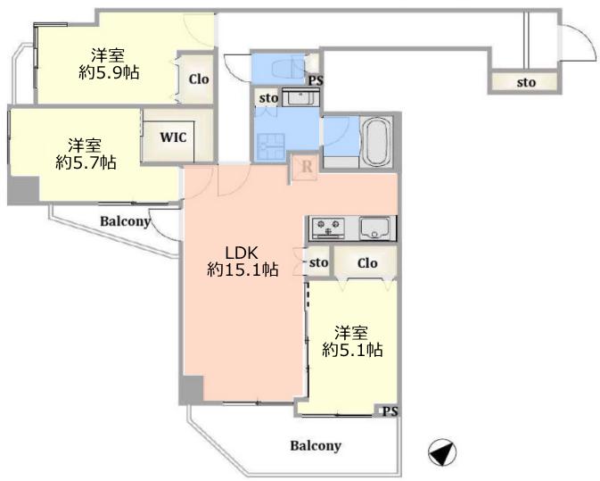 アイディーコート池袋西スターファーロ14階 間取図