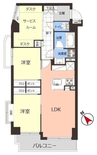 レーベンハイム常盤台南館4階 間取図