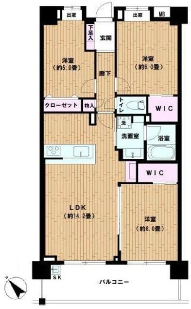 日神パレステージ東武練馬台東館2階 間取図