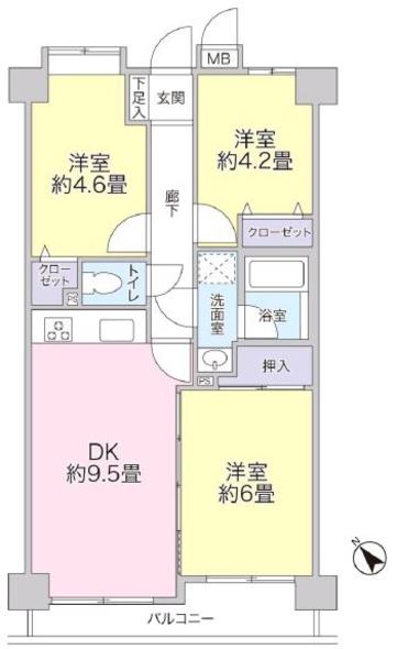 レーベンハイム常盤台南館2階 間取図