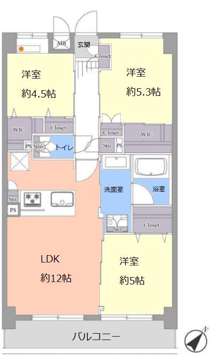 チサンマンション板橋徳丸3階 間取図
