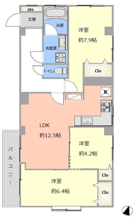 東武サンライズマンション3階 間取図