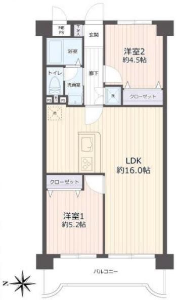 中銀第2城北パークマンシオン4階 間取図