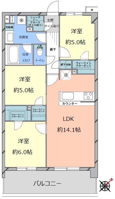 サンクレイドル東武練馬弐番館3階 間取図