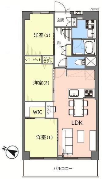 志村スカイハイツ1階 間取図