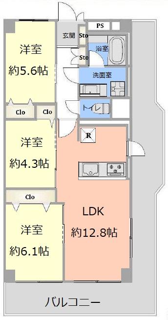 志村スカイハイツ7階 間取図