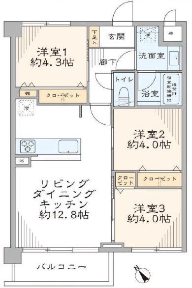 成増グリーンハイツ4階 間取図