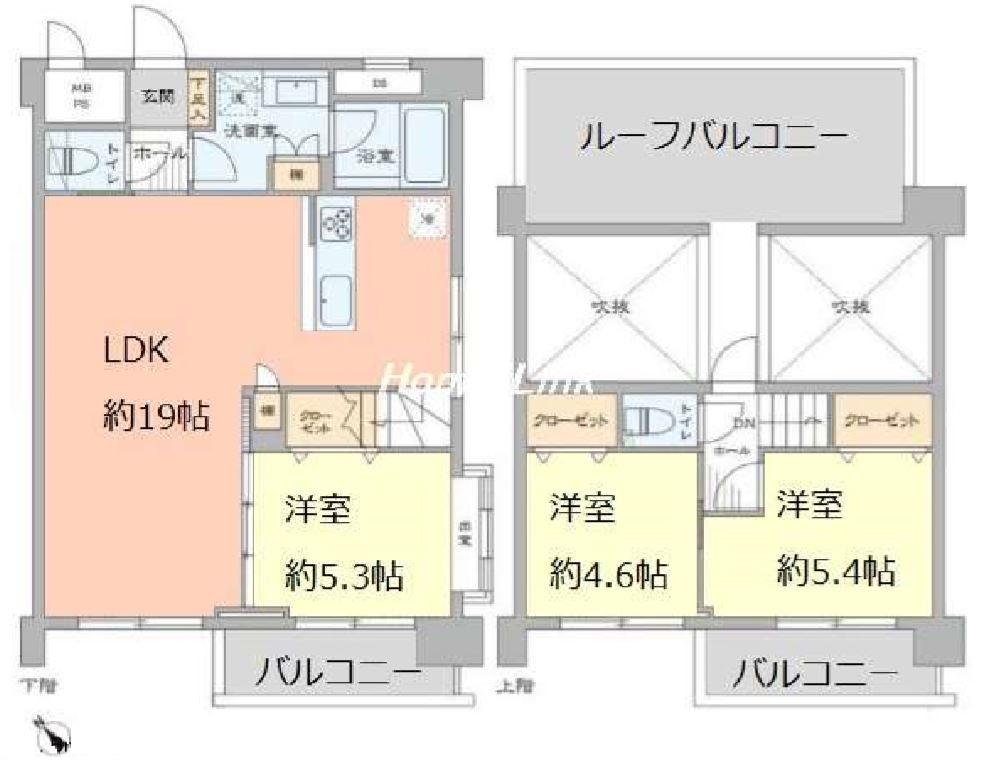 成増グリーンハイツ5階 間取図