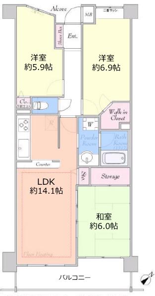 コスモ小竹向原ガーデンフォルム3階 間取図