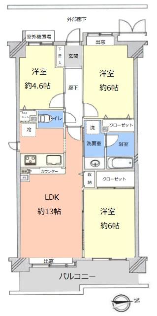 コスモ川口ガーデンスクエア10階 間取図