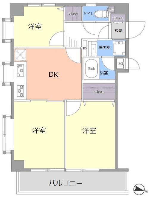 サングリーン赤塚の郷3階 間取図