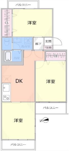 三田南常盤台コーポ2階 間取図