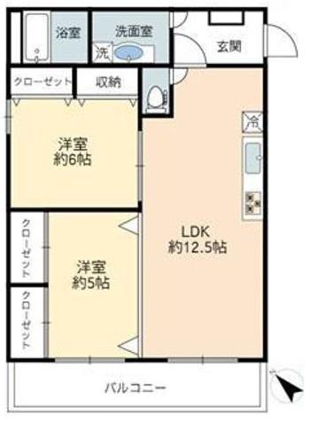 三田南常盤台コーポ3階 間取図