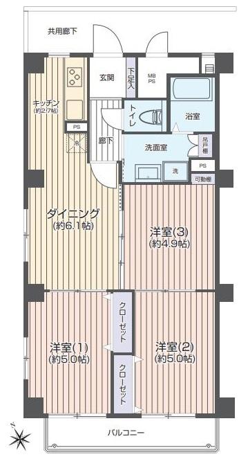 上板橋サンライトマンションAH棟7階 間取図