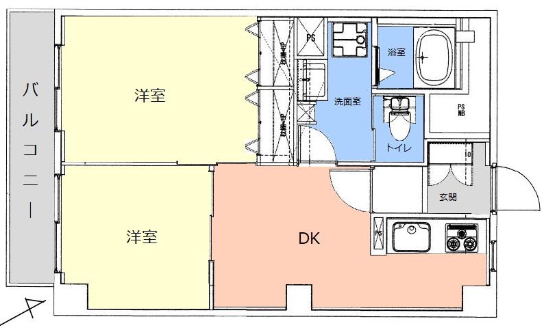 上板橋サンライトマンションB棟6階 間取図