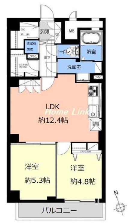 第1上板橋サンライトマンションAH棟5階 間取図
