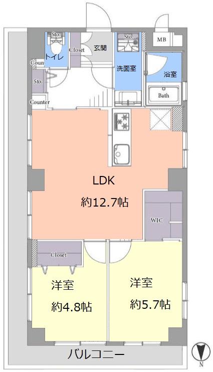 カースル常盤台3階 間取図