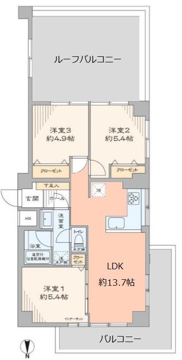 ライオンズマンション大山西町7階 間取図