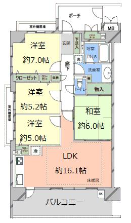 リビオ浦和上木崎グランセーヌ4階 間取図