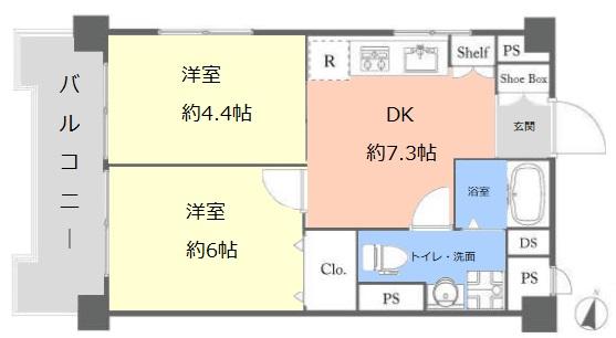志村三丁目フラワーホーム5階 間取図